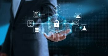 Data protection privacy concept. GDPR. EU. Cyber security network. Business man protecting his data personal information. Padlock icon and internet technology networking connection on virtual interface blue background.