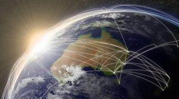 Australia with network representing major air traffic routes. Elements of this image furnished by NASA.